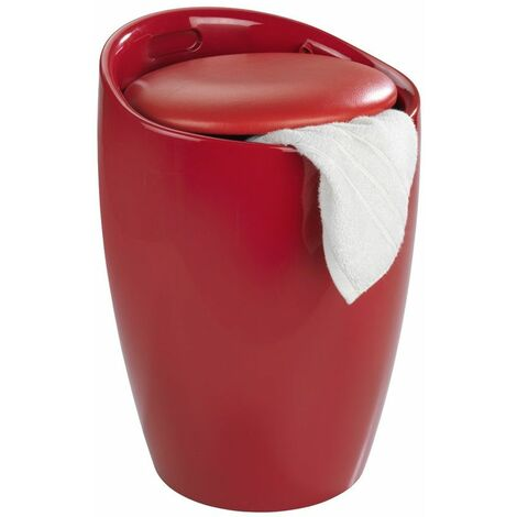 Tabouret de douche rouge - Wenko - Panier à linge intégré - Livraison gratuite