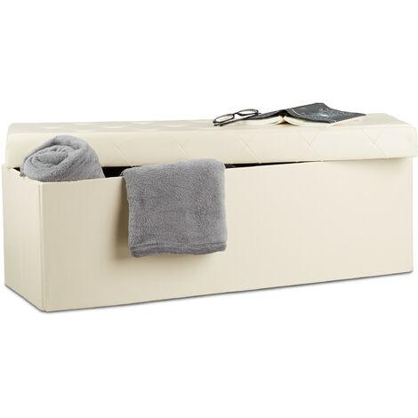 Tabouret de rangement similicuir pouf coffre banc rangement repose-pieds HxlxP: 38 x 114 x 38 cm, crème