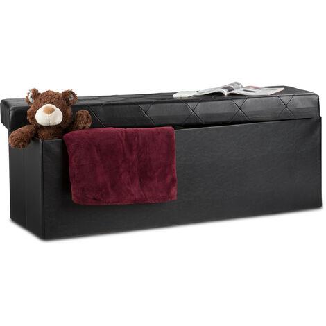 Tabouret de rangement similicuir pouf coffre banc rangement repose-pieds HxlxP: 38 x 114 x 38 cm, noir