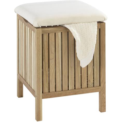 Tabouret de salle de bain avec surface rembourrée - Dim : 39 x 52 x 39 cm -PEGANE-