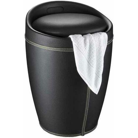 Tabouret de salle de bain Candy noir imitation cuir WENKO