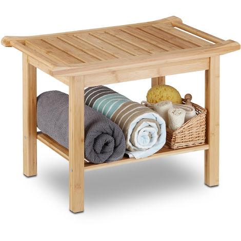 Tabouret de salle de bain en bambou banc nature bois compartiment meuble HxlxP: 45 x 66 x 40 cm, nature
