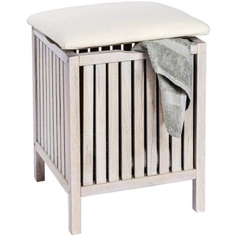 Tabouret de salle de bain en bois blanc cerusé - Dim : 39 x 52 x 39 cm -PEGANE-