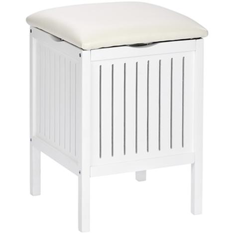 Tabouret de salle de bain en bois massif blanc - Dim : L 39 x H 55 x P 39  cm -PEGANE-