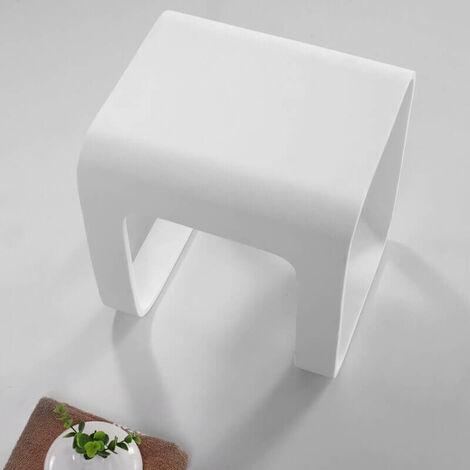 Tabouret de Salle de Bain - Solid surface Blanc Mat - 35x38 cm - Strat