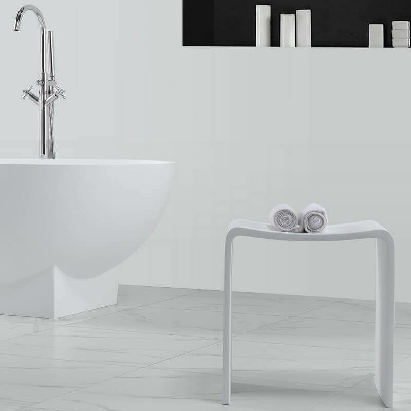 Charmant Tabouret De Salle De Bain   Solid Surface Blanc Mat   40x43 Cm   Essential    741