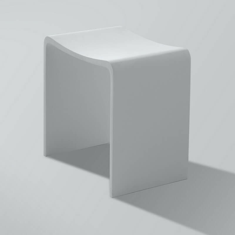 Tabouret de Salle de Bain - Solid surface Blanc Mat - 40x43 cm ...