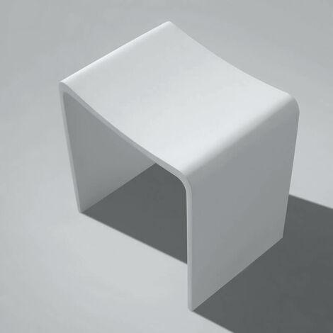 Incroyable Tabouret De Salle De Bain   Solid Surface Blanc Mat   40x43 Cm   Essential