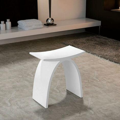 Tabouret de Salle de Bain - Solid surface Blanc Mat - 43x43 cm ...