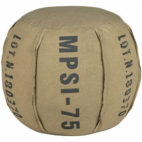 Tabouret de salon pouf fait à la main en toile sable coton Ø40x40cm WOMO-DESIGN®