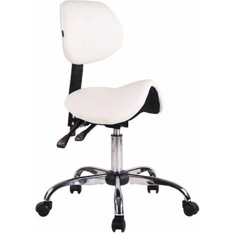 Tabouret de travail avec assise en forme de selle cheval ajustable et pivotant blanc