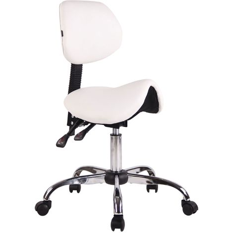 Tabouret de travail avec assise en forme de selle cheval ajustable et pivotant blanc - or