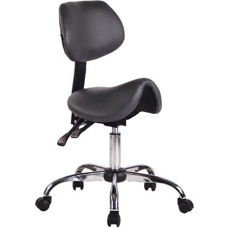 Tabouret de travail avec assise en forme de selle cheval ajustable et pivotant gris