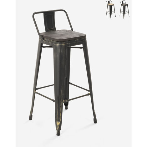 Tabouret design industriel métal bois vintage style tolix Brush Top