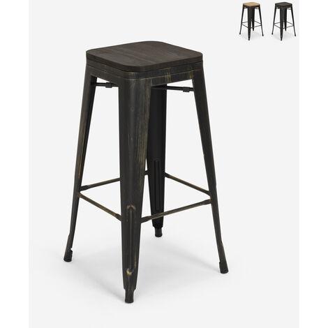 Tabouret Design Métal Bois Style Industriel Tolix Bar Cuisines Brush Up