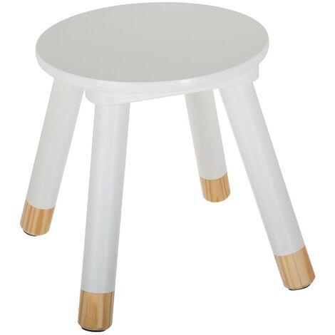 Tabouret douceur blanc pour enfant en bois - Blanc