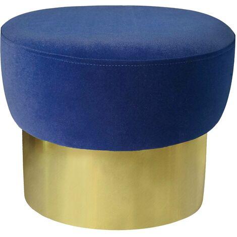 Tabouret Elia Velours Bleu Pied Or - Bleu