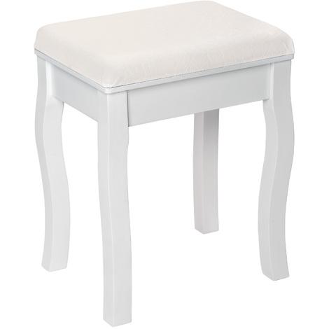 Tabouret en Bois pour Coiffeuse Meuble, Table de Maquillage, Piano 40 cm x 30 cm x 51 cm Blanc