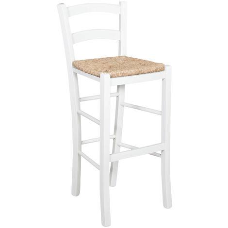 Tabouret en bois pour table à manger restaurant pizzeria cuisine fermes pauvres art blanc L46xPR41xh101 Cm Made In Italy