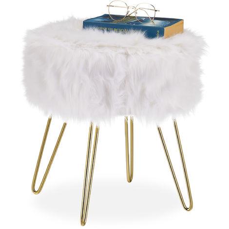 Tabouret en fourrure, synthétique, structure métallique, ronde, moelleuse, élégant HxD 40x38 cm, blanc /doré