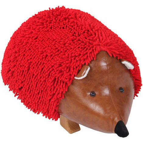 Tabouret en peluche hérisson rouge pour enfant repose-pieds bois et simili-cuir marron