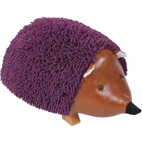 Tabouret en peluche hérisson violet pour enfant repose-pieds bois et simili-cuir marron