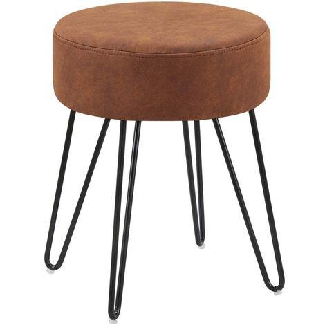 Tabouret en tissu velours brun orangé pieds en métal noir 35x35x45 cm