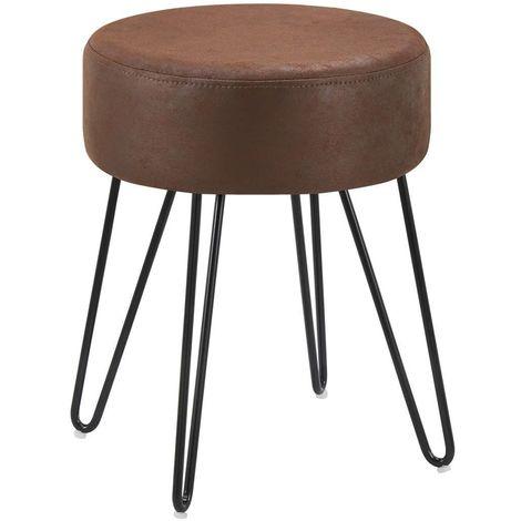 Tabouret en tissu velours marron foncé pieds en métal noir 35x35x45 cm