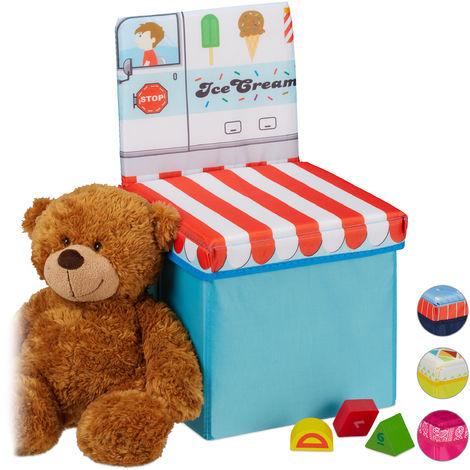 Tabouret enfant avec espace pour rangement, Dossier, pliable, Caisse pour jouets HxlxP43 x 25x 26 cm, bleu