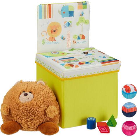 Tabouret enfant avec espace pour rangement, Dossier, pliable, Caisse pour jouets HxlxP43 x 25x 26 cm, jaune