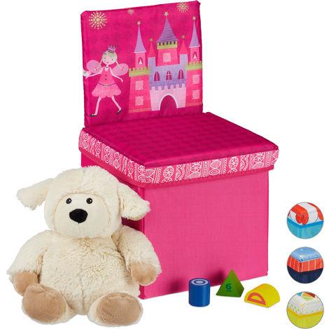 Tabouret enfant avec espace pour rangement, Dossier, pliable, Caisse pour jouets HxlxP43 x 25x 26 cm, rose