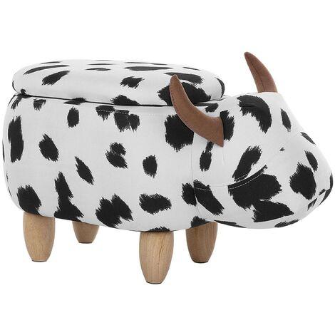 Tabouret enfant en tissu noir et blanc COW
