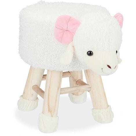 Tabouret enfant motifs animaux pouf 4 pieds assise rembourrée décoration amusant capricorne, blanc