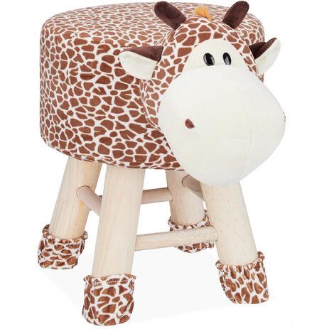 Tabouret enfant motifs animaux pouf 4 pieds assise rembourrée décoration amusant girafe, marron