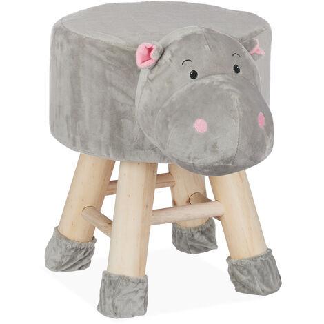 Tabouret enfant motifs animaux pouf 4 pieds assise rembourrée décoration amusant hippopotame, gris