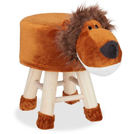 Tabouret enfant motifs animaux pouf 4 pieds assise rembourrée décoration amusant lion, marron