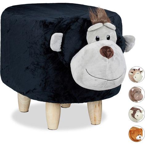 Tabouret enfant motifs animaux pouf 4 pieds assise rembourrée décoration amusant , singe