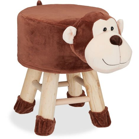Tabouret enfant motifs animaux pouf 4 pieds assise rembourrée décoration amusant singe, marron