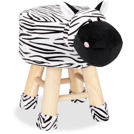 Tabouret enfant motifs animaux pouf 4 pieds assise rembourrée décoration amusant zebre, noir blanc