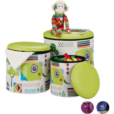 Tabouret enfants, jeu de 3, boîte ronde avec espace de rangement, chambre, 3 dimensions, animaux