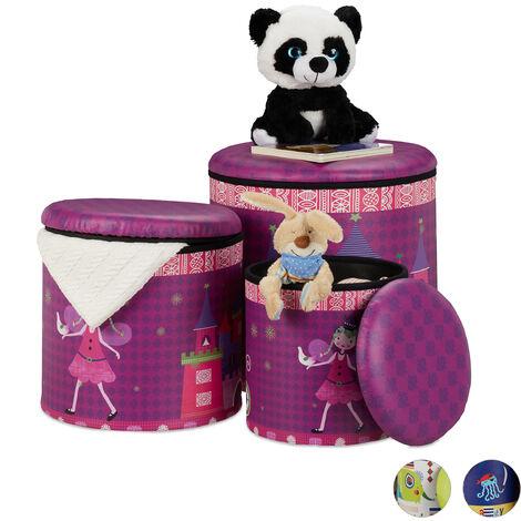 Tabouret enfants, jeu de 3, boîte ronde avec espace de rangement, chambre, 3 dimensions, designs