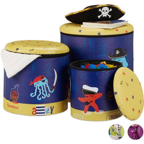 Tabouret enfants, jeu de 3, boîte ronde avec espace de rangement, chambre, 3 dimensions, pirates