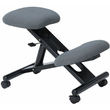 Tabouret ergonomique MALO siège ajustable repose genoux posture droite sans dossier avec roulettes, en bois noir et tissu gris