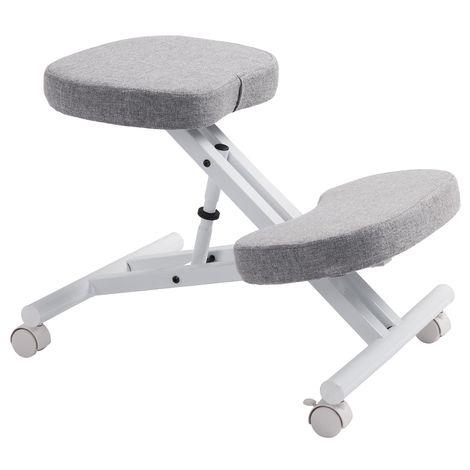 Tabouret ergonomique ROBERT siège ajustable repose genoux chaise de bureau sans dossier, en métal blanc et assise rembourrée gris