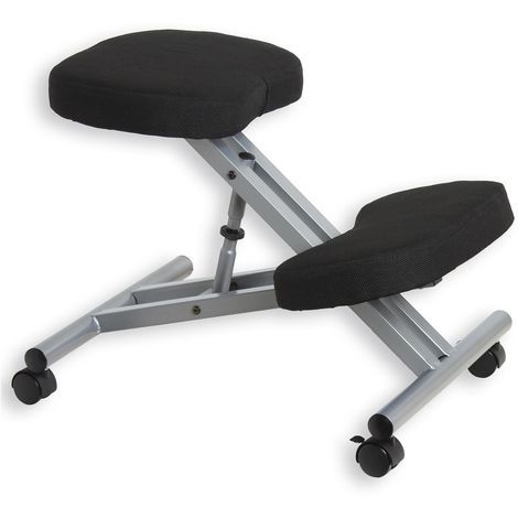 Tabouret ergonomique ROBERT siège ajustable repose genoux chaise de bureau sans dossier, en métal et assise rembourrée noir