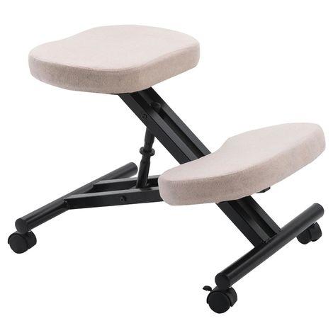 Tabouret ergonomique ROBERT siège ajustable repose genoux chaise de bureau sans dossier, en métal noir et assise rembourrée beige