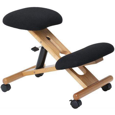"""main image of """"Tabouret ergonomique VILLACH siège ajustable repose genoux posture droite sans dossier avec roulettes, en bois et tissu noir"""""""