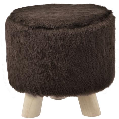 Tabouret fausse fourrure marron avec pieds du bois