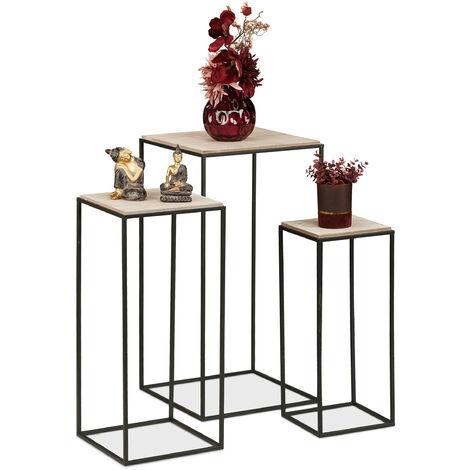 Tabouret fleurs, jeu de 3, support plantes, carré, en métal et MDF, tables d'appoint , optique bois/noirs