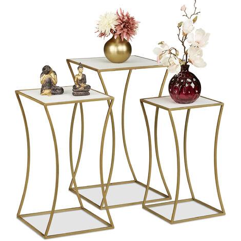 Tabouret fleurs, jeu de 3, support plantes, carré, en métal et MDF, tables pour intérieur, optique bois/noirs
